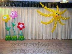 Украшение шарами сцены на детский праздник