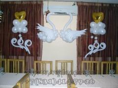 Свадебная композиция с лебедями