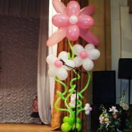 Большой цветочный куст из шаров с гелием