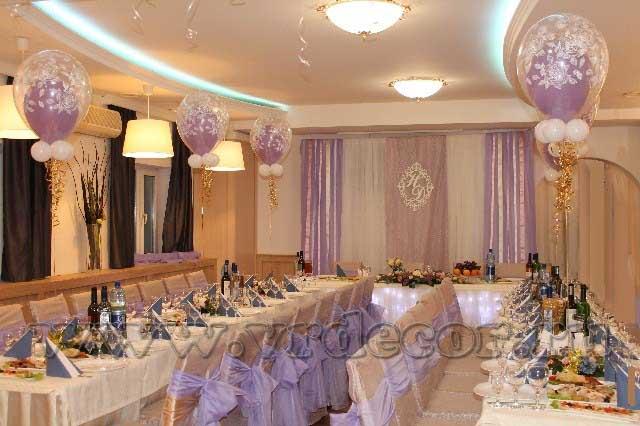 Оформление свадьбы в кафе «Печера»Свадьба в сиреневом цвете