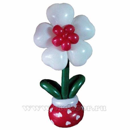 Цветок из воздушных шаров в вазе