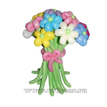 Букет разноцветных ромашек из воздушных шаров