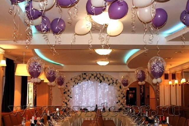 Шары под потолок на свадьбе