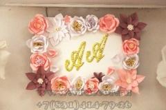 цветочная фоторамка с инициалами