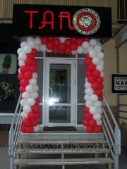Оформление воздушными шарами открытия магазина