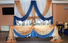 Сине-золотое оформление свадьбы